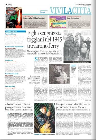 Articolo de 'La Gazzetta del Mezzogiorno' del 20/01/2013