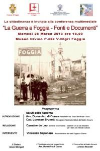 locandina 26-3-13 conferenza La guerra a Fg-Museo Civico